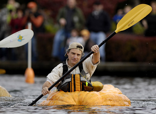 Brett Savage, a giant pumpkin grower from McMinnville, Oregon, leads the pack during the growers's race of the West Coast Giant Pumpkin Regatta.  Brett never looked back as he paddled to his second consecutive victory after winning the growers' race last year.