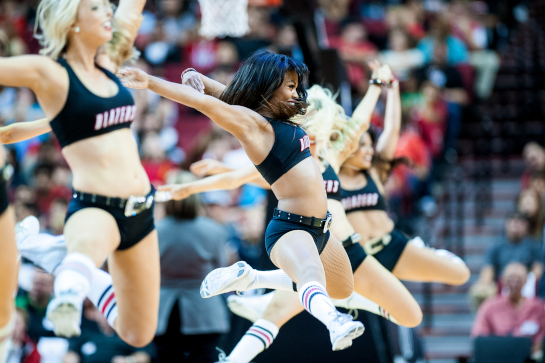 Blazer dancers perform during a break in the action of the Fan Fest scrimmage.