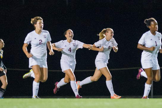 Milwaukie midfielder Ellie Holmes (4) celebrates her goal with 13:38 left in the second half to tie the match 1-1.