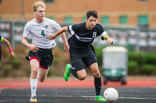 Glencoe forward Javier Cazarez (9) dribble the ball in midfield pursued by West Salem midfielder Joshua Bailey (4) in the second half.