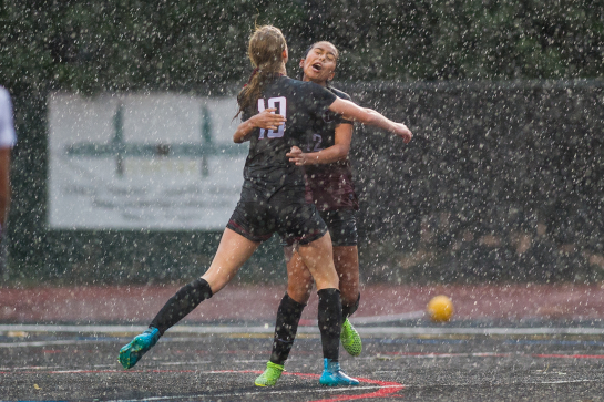 Glencoe midfielder Olivia Dendinger (10) embraces midfielder Celeste Molina Sanchez (17) after Molina Sanchez scored her second goal of the match with 2:25 remaining in the match to put the Tide up 2-0.